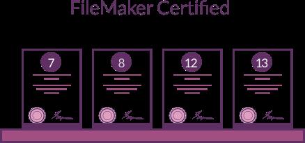 FileMaker Certified in version 7, 8, 12 & 13